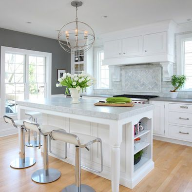 White cabinets grey walls marble backsplash kitchen White cabinets grey walls