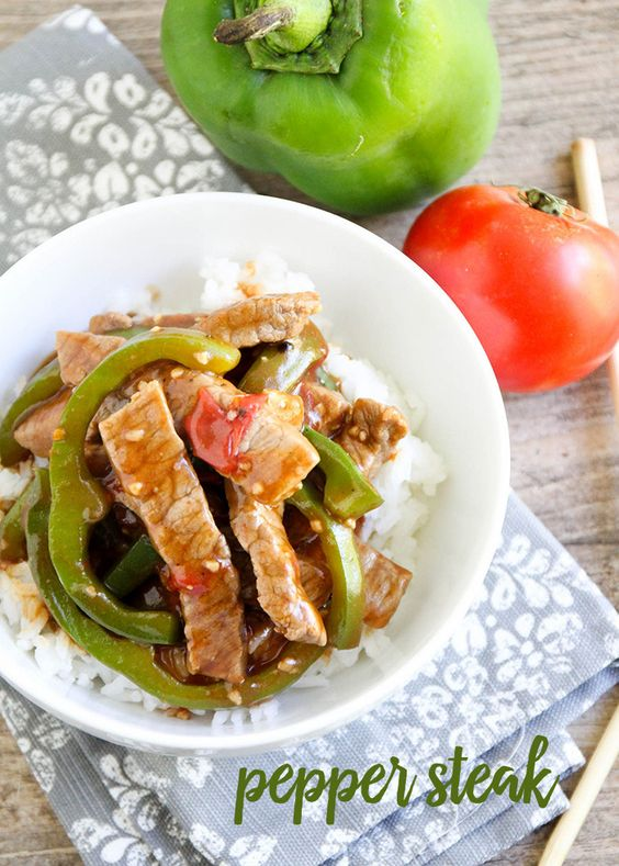 Pepper Steak recipe - we love this dinner idea served over rice or noodles!