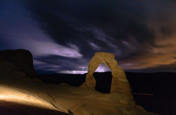 Lightning storm in Arches National Park. [OC] [3220x2116]