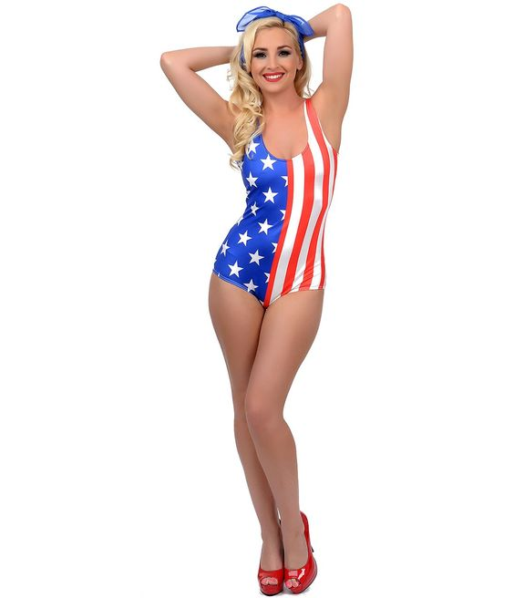 UniqueVintage Red, White & Blue American Flap Stars & Stripes Tank Swimsuit #4thofJuly #Patriotic