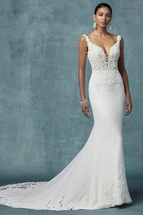 Wedding Dress Out Of Maggie Sottero Kelsey Sheath Wedding Dress Lace Fitted Wedding Dress Wedding Dresses Kleinfeld
