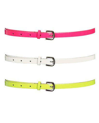 3 neon skinny belts- very cute