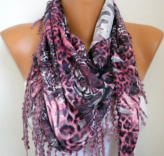 Pink Leopard Scarf  Headband Necklace Cowl with Lace by fatwoman, $19.00