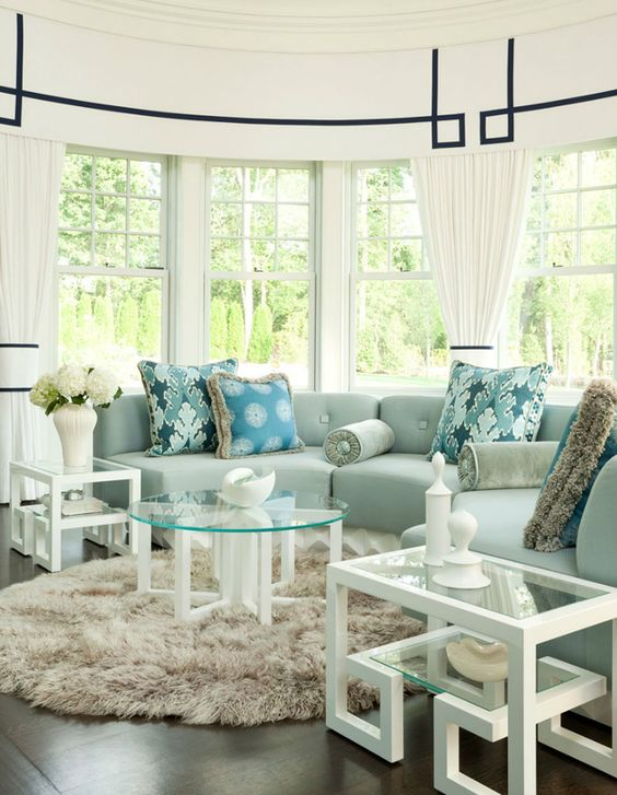round seating area, greek key inspired details