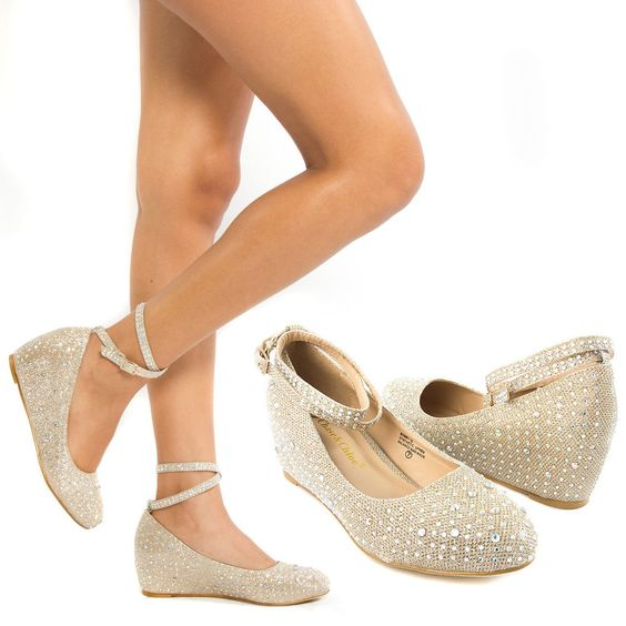 New Gold Ankle Strap Crystal Wedge Med Low Heel Pump Wedding ...