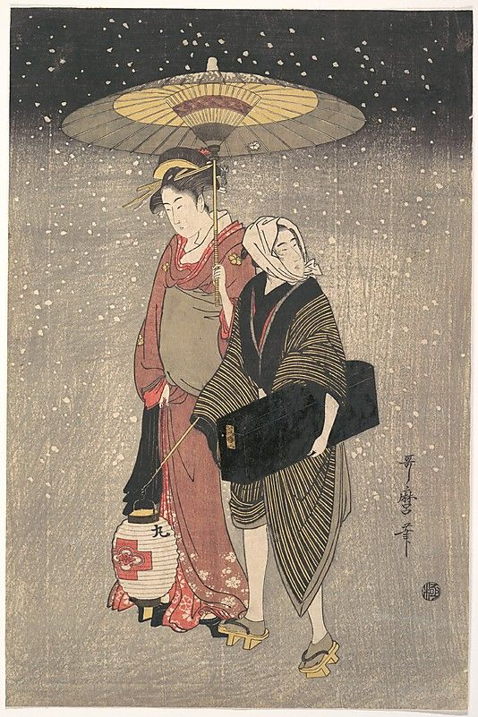 Kitagawa Utamaro (Japanese, 1753?–1806). Geisha Walking through the Snow at Night, ca. 1797. The Metropolitan Museum of Art, New York. H. O. Havemeyer Collection, Bequest of Mrs. H. O. Havemeyer, 1929 (JP1665) | A geisha walks with an umbrella in a snowstorm, accompanied by a male attendant carrying a lantern and a lacquered black box containing her musical instrument, a shamisen. It is a dreamlike scene. The snow is falling thick and fast, but there is no indication of snow on the ground. #snow