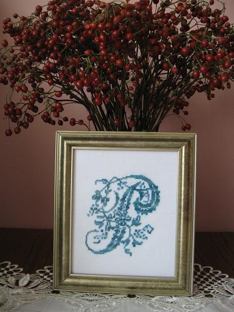 cross stitch monogram P