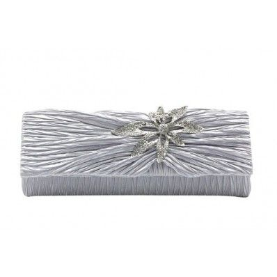 Dazzling Elegant Flower Rhinestone Handbag, Wedding Party Clutch Purse Chain Bag-Silver