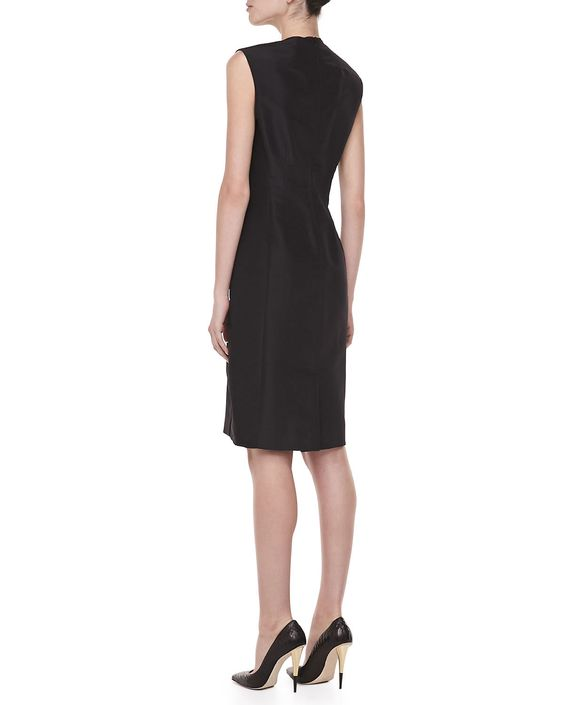 Sleeveless Taffeta Day Dress, Black