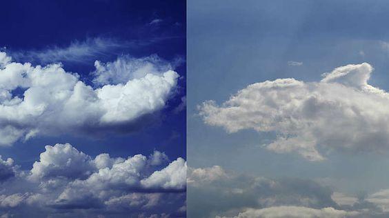 Dunkelblauer und hellblauer Himmel-Der Himmel links im Bild ist tiefblau und damit trocken. Rechts ist der Blauton stark verwässert, weil die Dunstteilchen sehr groß sind.