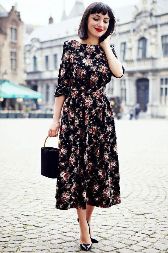 2020 Uzun Basma Elbiseler Gunluk Siyah Midi Kayik Yaka Uzun Kollu Desenli Elbiseler Cicekli Elbiseler Cicekli Desen