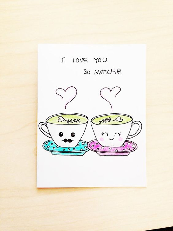 Funny love card I love you so matcha hand drawn just for your – Funny Cute Valentines Cards