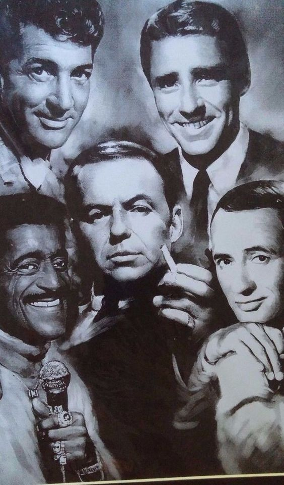 The Rat Pack Frank Sinatra, Dean Martin, Sammy Art Print in Protective Wrap