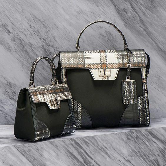 prada tartan and saffiano black brown top handle satchel