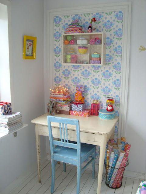 Home office detalhes em azul: