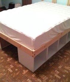 Kallax Bett 140x200 In 2020 Queen Bed Frame Diy Bookshelves Diy Diy Storage Bed