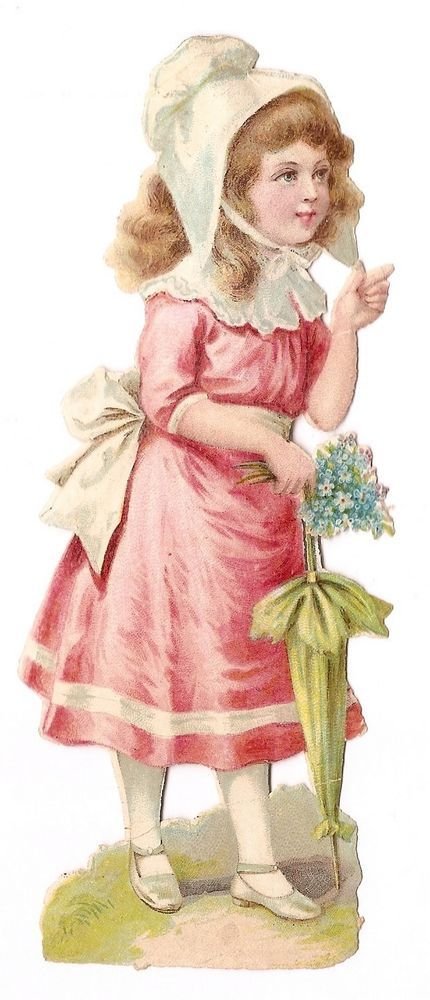 La jeune fille ombrelle bonnet   - - Chromo Decoupi  Victorian Scrap  Oblaten: