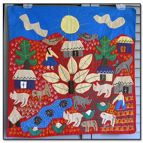Vintage South American Folk Art Appliqued Wall Hanging