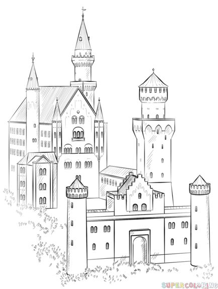 how to draw the neuschwanstein castle step by step drawing tutorials for kids and beginners