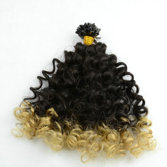 Curly Nail Tip Keratin Fusion Hair Extensions in Two Tones Ombre #IB To #613 Black to Blonde - Beauty