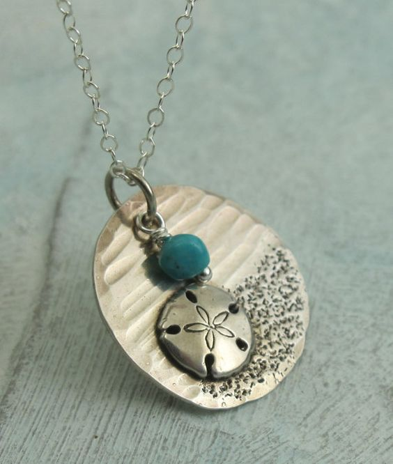 Sand dollar Seascape in sterling silver