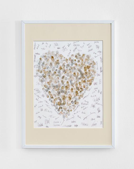 Gästebuchidee-Fingerabdruck - Oft haben wir festgestellt, dass Hochzeitsgäste schnell überfordert sind, wenn sie ein Bild aus dem Nichts malen oder im Allgemeinen mit Pinsel und Farbe umgehen müssen. Aus diesem Grund hatten wir diese etwas andere Gästebuchidee.