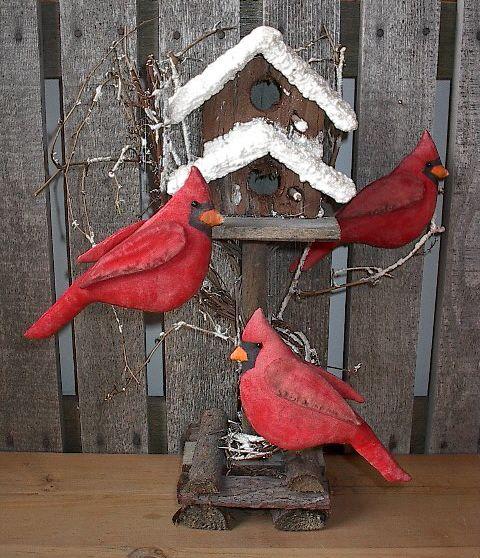 PatternMart.com ::. PatternMart: A Primitive RED CARDINAL Bird Ornament - tdp