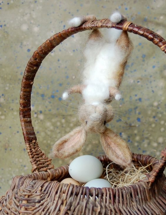 Basket Bunny Tan and White by SarafinaFiberArt on Etsy