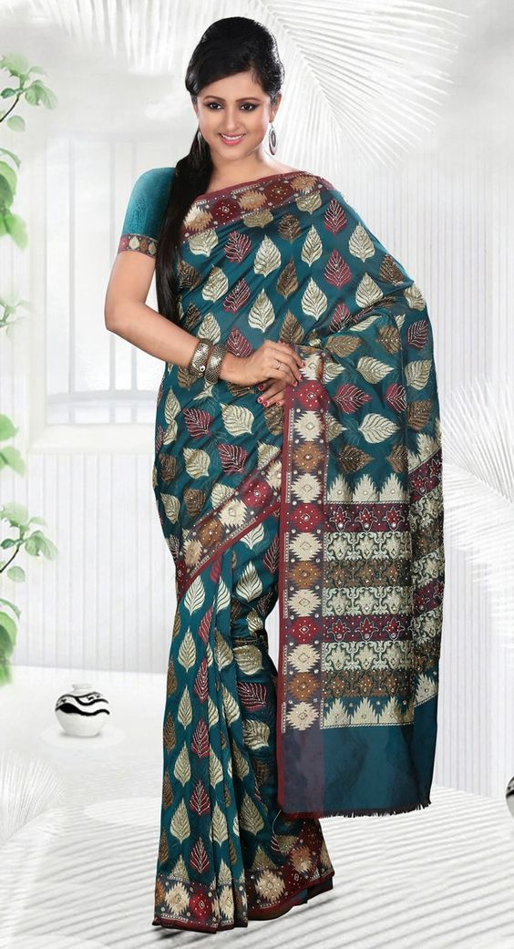 Snappy Teal Blue Embroidered Patola  Silk Saree