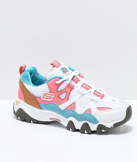 Skechers x One Piece D'Lites 2 White, Pink and Blue Shoes in