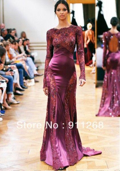 Zuhair Murad 2015 evening gowns Sheer Neck Mermaid Fushcia Lace ...