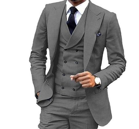 Suit Men S Clothing Men S Suit 3 Piece Suit With Double Breasted Vest Suit Mens Wear Style Dark Grey Ca U Men S Business Suits Slim Fit Suits Wedding Suits Men