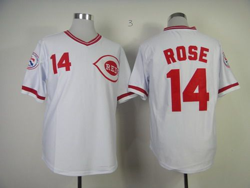 Cincinnati Reds #14 Pete Rose Embroidered White Red MLB Jersey. One day, I WILL have one of these!!!