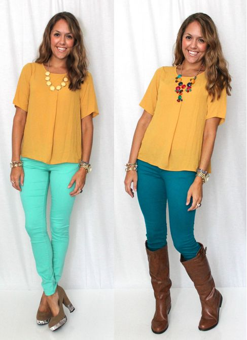 i'd rock: {first outfit} mustard top (loft).  teal jeans (old navy).  white necklace (wet seal).  {second outfit} mustard top (loft).  teal pants (WANT).  brown boots (target).