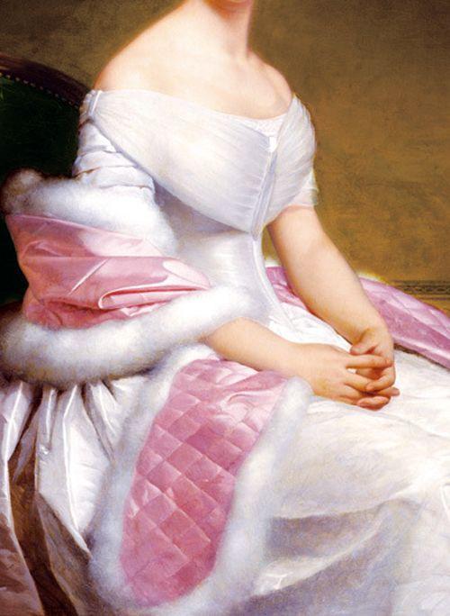 """Detalle del """"Retrato de Madame De Blanzayl"""".Alexis-Joseph Perignon (1806-1882)."""