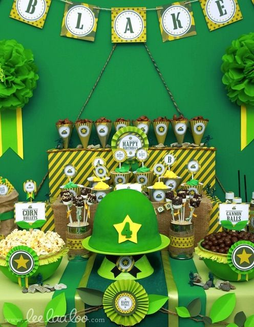Birthdays army party themes and make money online now on for Army party decoration ideas