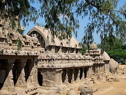 The PanchaRathas, Mahabalipuram, Tamil Nadu(India)- An example of monolith Indian rock-cut architecture dating from the late 7th century, located at Mahabalipuram, a UNESCO World Heritage site