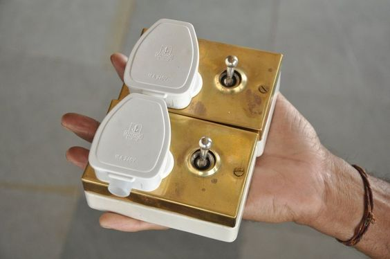 2 Pc Vintage Brass & Ceramic Britmac Brand Electric Switches With Plug, England