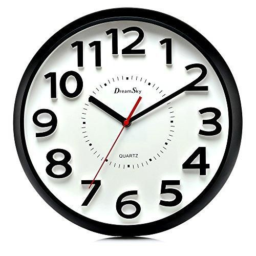 Dreamsky 13 Inch Large Wall Clock Non Ticking Silent Quartz Decorative Clocks Battery Operated Round Retro Indoor Outdoor Kitchen Bedroom Living Room Wall Clocks Big 3d Number Display Clock