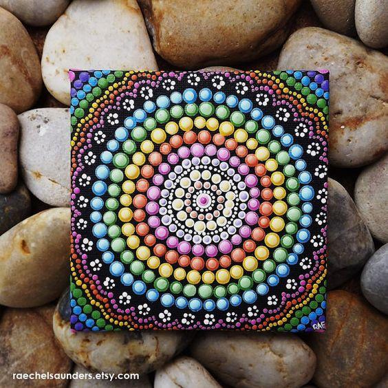 Aboriginal Dot Art Rainbow Painting, Acrylic paint on Canvas Board ...