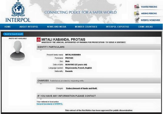 Protais Mitali on Interpol wanted list IGIHE Pinterest - areas of expertise list