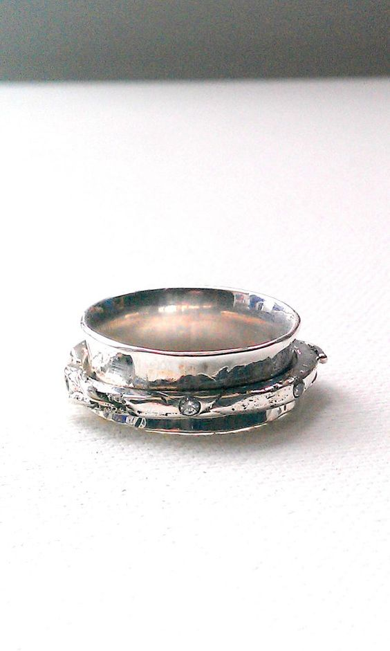 sterling silver ring spinning ring worry ring stress