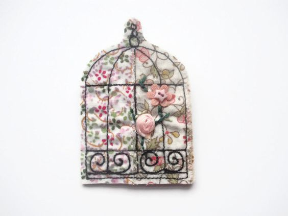 Bird cage textile brooch by maxollieandme on Etsy, £6.00