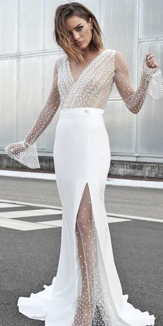 sexy illussion v neckline wedding dresses with long sleeves rime arodaky 2018