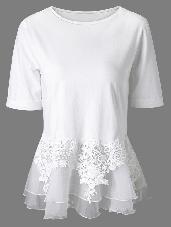 $15.15 Short Sleeves Splice Lace Flounce Blouse