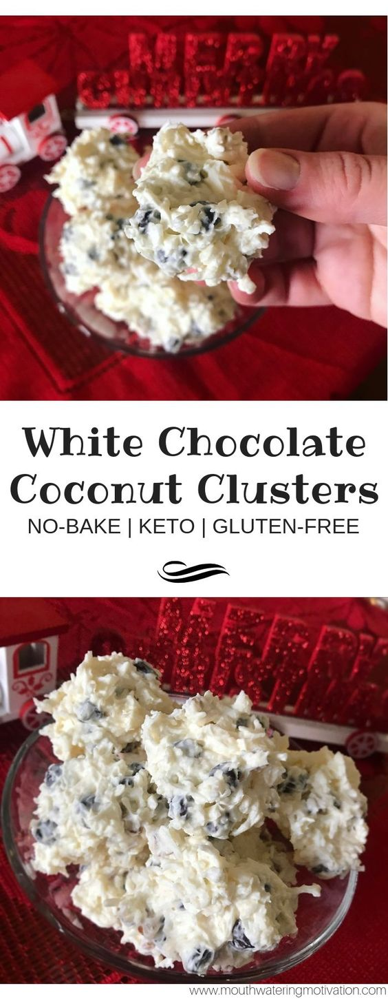 Keto no-bake white chocolate coconut clusters. These are so easy to make and A HIT for white chocolate lovers. I honestly could have eaten the whole tray..