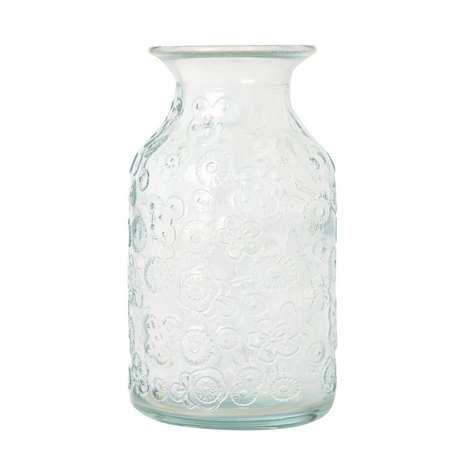 Glass Embossed Bud Vase