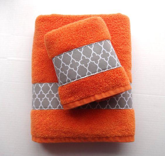 Pick Your Size Orange Towels  grey towels  towels  orange towels  lattice  hand towels  bathroom  grey quatrefoil  lattice  Moroccan. Pick Your Size Orange Towels grey towels towels by AugustAve