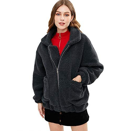 pujingge Womens Long Sleeve Solid Button Down Hood Jacket Fuzzy Jackets