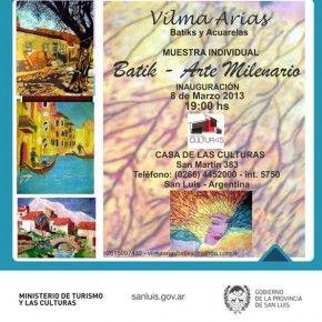 Muestra individual: Arte milenario  [Prensa Subprograma Gestión Cultural San Luis]
